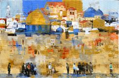The wailing wall in jerusalem. `the wailing wall` famous landmark in jerusalem. With tourists walking arround. Acrylic painting Royalty Free Stock Images