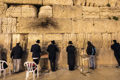 Jews at the Wailing Wall in the evening, Jerusalem, Israel, Middle East stock photography