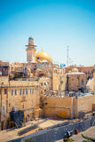 Wailing Wall and on the gold-plated Dome Rock Al-Aqsa Royalty Free Stock Photography