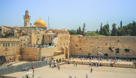 Wailing Wall and on the gold-plated Dome Rock Al Royalty Free Stock Photos