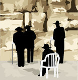 At the Wailing Wall. Illustration of four figures of orthodox Jews praying at the Wailing Wall Stock Photo
