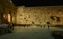 Wailing wall Jerusalem, night view. The Western Wall Ha-Kotel Ha-Ma`aravi in Jerusalem is the holiest of Jewish sites, sacred because it is a remnant of the royalty free stock images