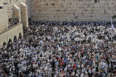 Wailing wall mass Stock Photography
