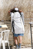 Wailing Wall Prayers in the Heat.!!. A Man Prays in Shorts and a Tee Shirt at The Western Wall, also known as the Wailing Wall .Jerusalem,Israel stock photo
