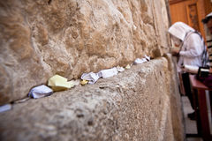 Wailing Wall Prayers. Man praying at the Wailing Wall, Jerusalem Royalty Free Stock Photography