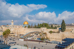 The wailing wall. View of the wailing wall and Al-Aqsa Mosque, Jerusalem Israel Royalty Free Stock Photos