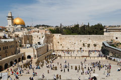 Wailing wall. View of the Wailing Wall and the Dome of Omar in Jerusalem stock photos