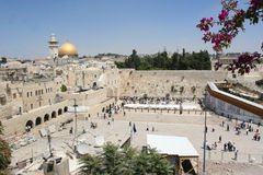 Wailing Wall,western Wall. A distant photo of the Wailing wall area, secure and sterile, in the background you can see the Dome of the rock royalty free stock image