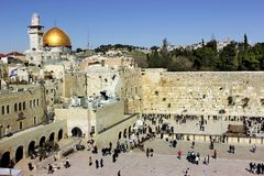 The wailing western wall in Jerusalem Royalty Free Stock Photography