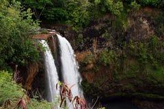 Wailua在考艾岛海岛上落 库存图片