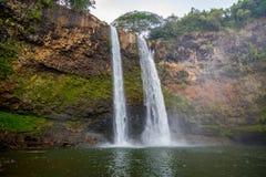 Wailua cade in Kauai Hawai Immagini Stock Libere da Diritti
