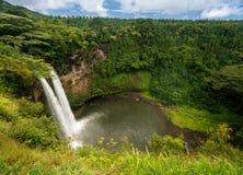 Wailua fällt in hawaiische Insel von Kauai Stockbilder