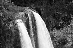 Wailua Falls in Black and White. Waterfall is located in Kauai, Hawaii, USA Royalty Free Stock Photo