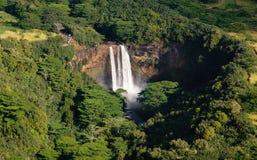 Wailua Falls near Lihue in Kauai. Aerial view of Wailua Falls in Kauai stock photo