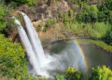 Wailua falls and rainbow Royalty Free Stock Photography