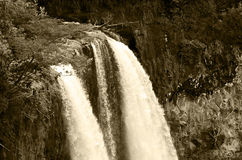 Wailua Falls in Sepia Tone. Waterfall is located in Kauai, Hawaii, USA Royalty Free Stock Photos