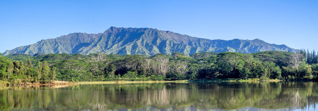 Wailua reservoir with the Makaleha Mountains Stock Image