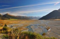Waimakariri rzeka, Nowa Zelandia krajobraz zdjęcie stock