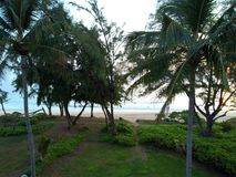 Waimanalo海滩鸟瞰图  库存照片