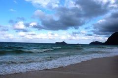 Waimanalo海滩视图 库存照片