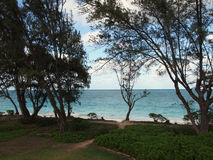 Waimanalo Beach with Paths leading to beach Stock Photography