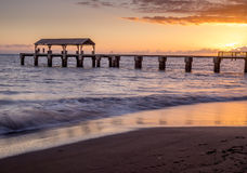 Waimea在日落的镇码头 免版税库存照片