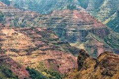Waimea在考艾岛海岛,夏威夷上的峡谷视图 库存照片