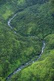 Waimea峡谷瀑布河,考艾岛 免版税库存图片