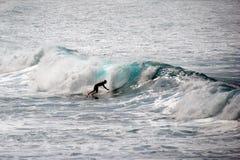 WAIMEA海滩,奥阿胡岛,夏威夷美国- 2015年1月30日:乘波浪的冲浪者的剪影 免版税库存照片