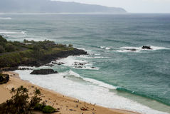 Waimea Bay. A view of Waimea Bay from high up on the mountain. Oahu, hawaii Stock Image