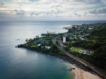 Waimea-Bucht-Punkt-Landschaft und Ozean stockfotos