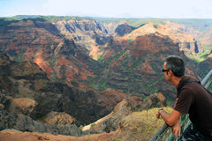 Waimea canyon. A man looking into Waimea Canyon - Hawaii Royalty Free Stock Photos