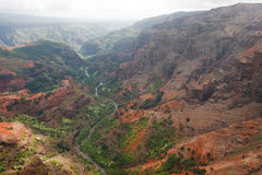 Waimea Canyon in Kauai. An aerial view of Waimea Canyon in Kauai, Hawaii Royalty Free Stock Photo