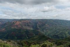 Waimea Canyon on Kauai, Hawaii, in winter. Under an overcast sky Royalty Free Stock Image