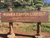 Waimea Canyon park lookout sign stock photography