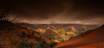 Waimea Canyon Storm. Dramatic image of Waimea Canyon during a storm Stock Images