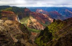 Waimea Canyon viewpoint. With waterfall royalty free stock photography
