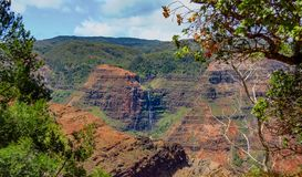 Waimea Canyon and waterfall, aka the Grand Canyon of the Pacific, Kauai, Hawaii, USA stock image