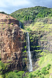 Waimea Canyon waterfall in Hawaii Royalty Free Stock Images