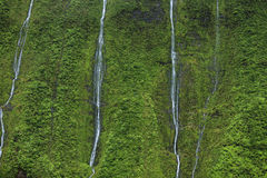 Waimea Canyon Waterfall, Kauai. Waimea Canyon taken from open door Helicopter Royalty Free Stock Images