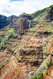 Waimea Canyon and waterfall Royalty Free Stock Photo