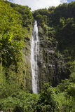 Waimoku在毛伊,夏威夷下跌沿Pipiwai足迹的高瀑布 库存图片