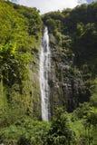 Waimoku baja cascada alta a lo largo del rastro de Pipiwai en Maui, Hawaii Imagenes de archivo