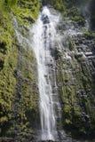 Waimoku baja cascada grande en Maui Hawaii en el parque nacional de Haleakala en el rastro de Pipiwai Fotografía de archivo libre de regalías