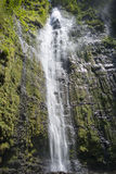 Waimoku Falls big waterfall in Maui Hawaii in Haleakala National Park on the Pipiwai Trail. Royalty Free Stock Photography