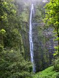 Waimoku Falls, Maui. The beautiful 400 foot Waimoku Falls, captured in Haleakala National Park on the island of Maui in Hawaii stock photos