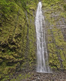 Waimoku Falls in Maui Hawaii. The Waimoku falls are at the end of the popular Waimoku Falls Trail on Maui Hawaii and about 120 meter tall royalty free stock images