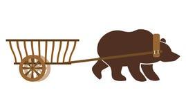 Wain e urso do russo Transporte tradicional em Rússia naturalizado ilustração royalty free