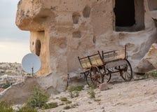 Wain and satellite bowl in rural setup. Wain and satelite in rural setup Royalty Free Stock Image