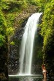 Wainibau瀑布在塔韦乌尼岛的Lavena沿海步行结束时 免版税库存照片